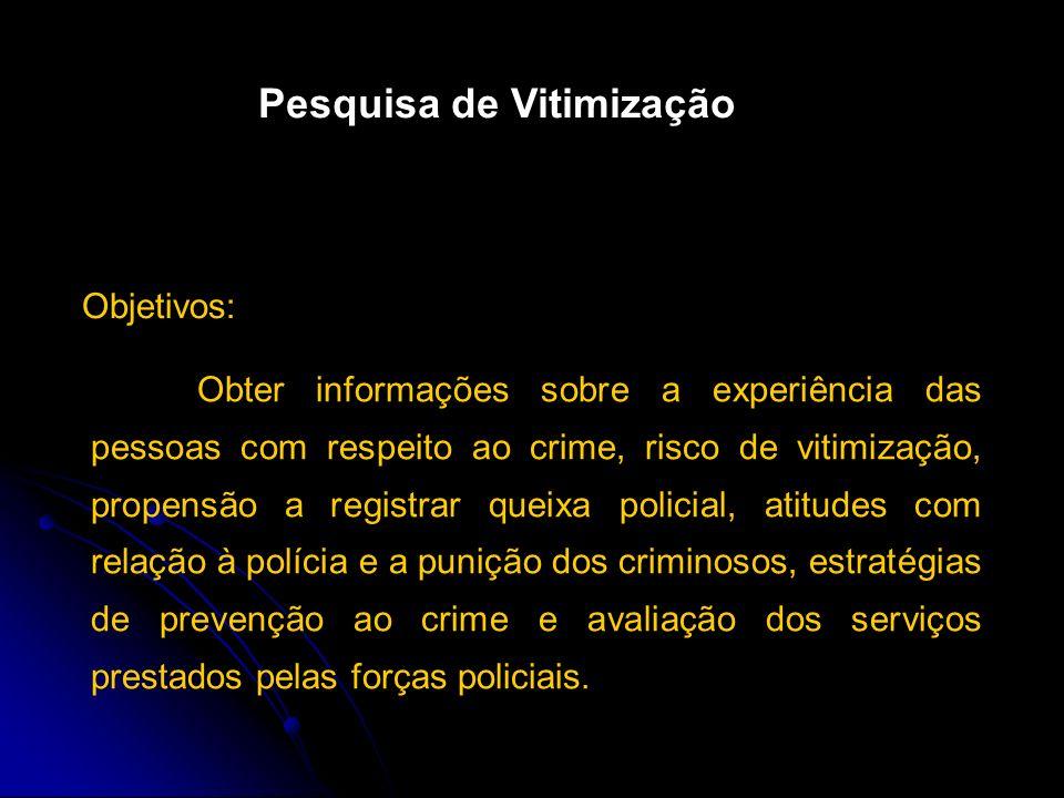 Gera informações que eventualmente sirvam no desenvolvimento de políticas para o controle da criminalidade, e quantifica a ocorrência de violações esp