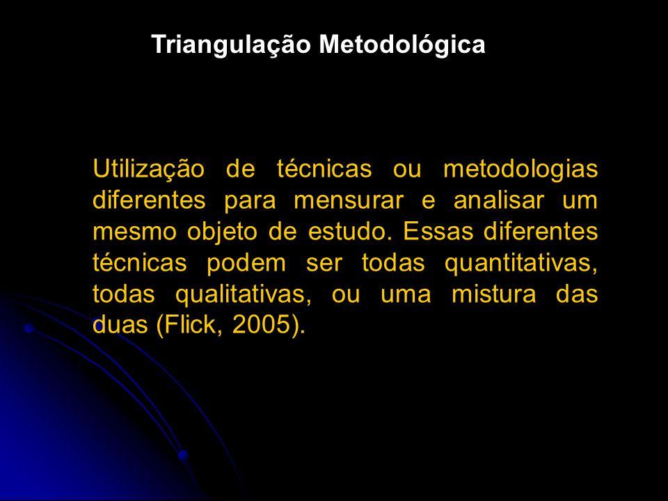 Utilização de técnicas ou metodologias diferentes para mensurar e analisar um mesmo objeto de estudo.