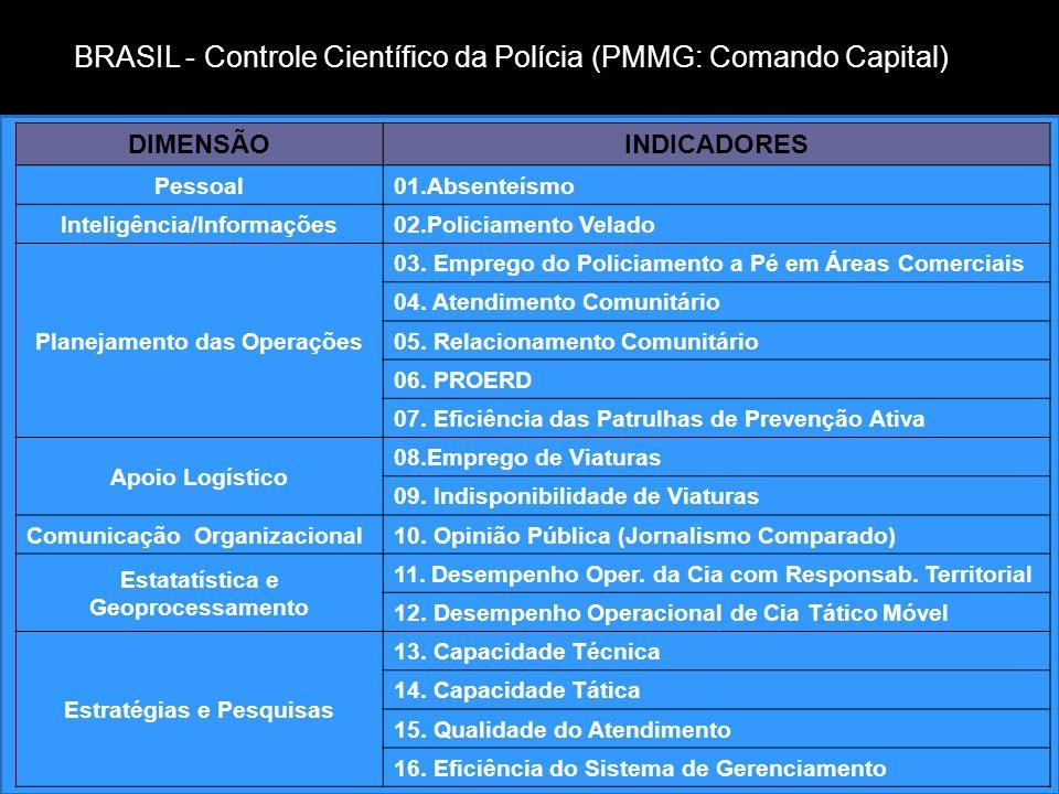 Medidas estatísticas associadas com dimensões valiosas de desempenho policial Dimensões de DesempenhoIndicadores Estatísticos Reduzir a vitimização cr