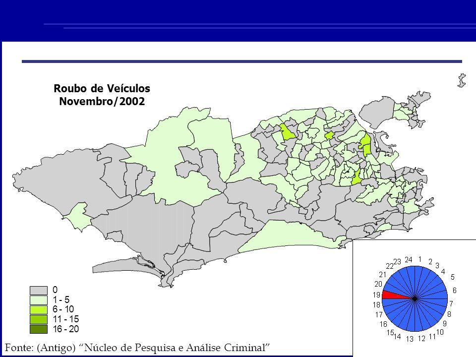 Roubo de Veículos Novembro/2002 0 1 - 5 6 - 10 11 - 15 16 - 20 Fonte: (Antigo) Núcleo de Pesquisa e Análise Criminal