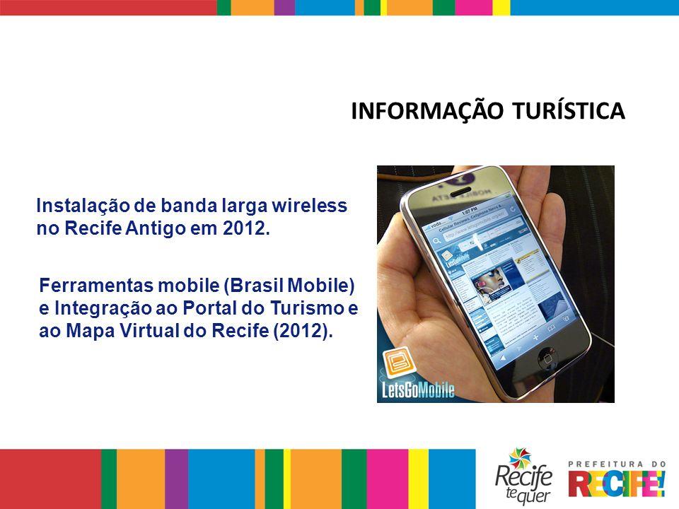 Ferramentas mobile (Brasil Mobile) e Integração ao Portal do Turismo e ao Mapa Virtual do Recife (2012). Instalação de banda larga wireless no Recife