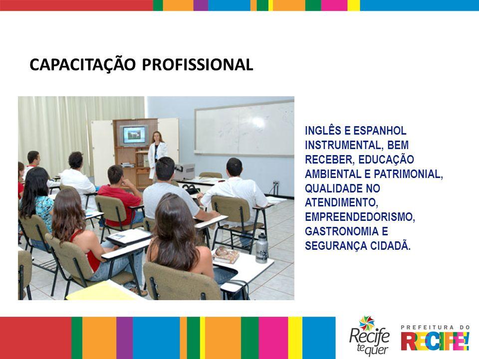 INGLÊS E ESPANHOL INSTRUMENTAL, BEM RECEBER, EDUCAÇÃO AMBIENTAL E PATRIMONIAL, QUALIDADE NO ATENDIMENTO, EMPREENDEDORISMO, GASTRONOMIA E SEGURANÇA CID