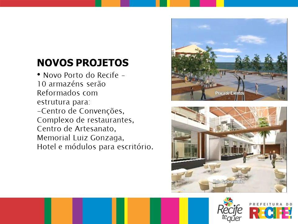 NOVOS PROJETOS Novo Porto do Recife – 10 armazéns serão Reformados com estrutura para: -Centro de Convenções, Complexo de restaurantes, Centro de Arte
