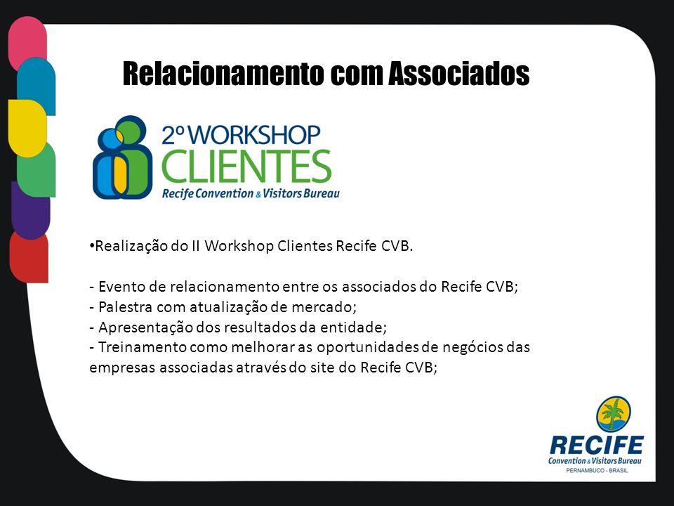 Realização do II Workshop Clientes Recife CVB. - Evento de relacionamento entre os associados do Recife CVB; - Palestra com atualização de mercado; -