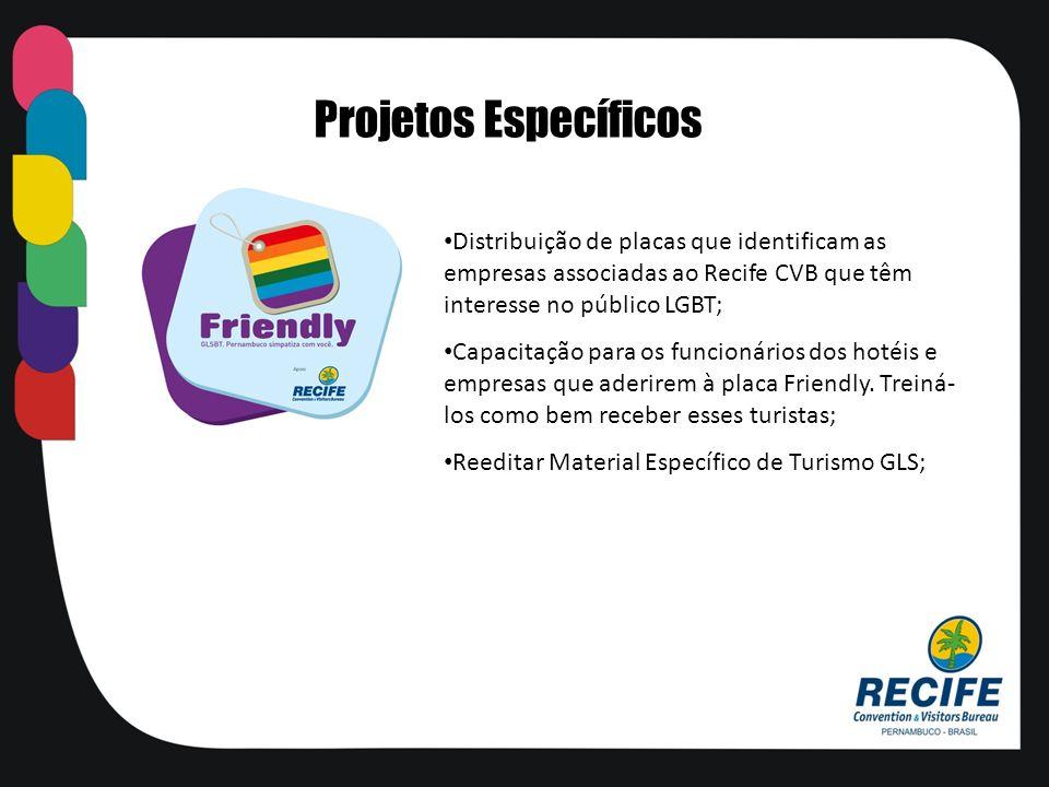 Distribuição de placas que identificam as empresas associadas ao Recife CVB que têm interesse no público LGBT; Capacitação para os funcionários dos ho