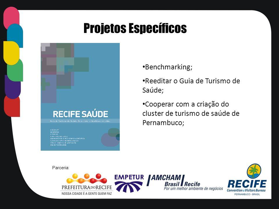 Benchmarking; Reeditar o Guia de Turismo de Saúde; Cooperar com a criação do cluster de turismo de saúde de Pernambuco; Projetos Específicos Parceria: