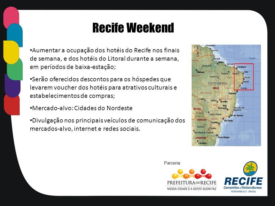 Aumentar a ocupação dos hotéis do Recife nos finais de semana, e dos hotéis do Litoral durante a semana, em períodos de baixa-estação; Serão oferecido