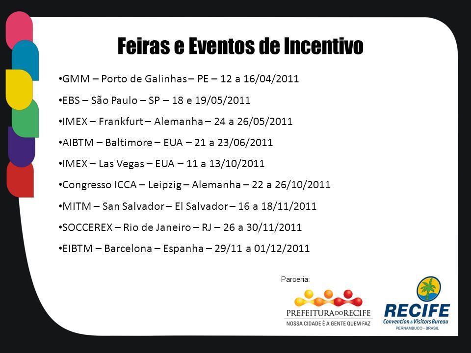 GMM – Porto de Galinhas – PE – 12 a 16/04/2011 EBS – São Paulo – SP – 18 e 19/05/2011 IMEX – Frankfurt – Alemanha – 24 a 26/05/2011 AIBTM – Baltimore