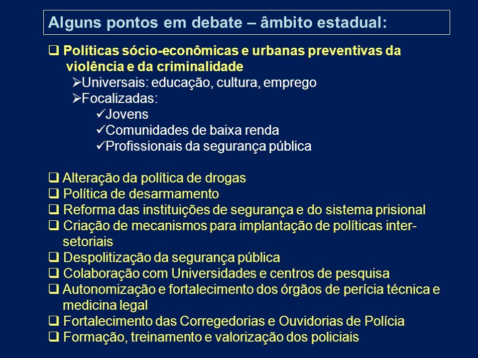 Políticas sócio-econômicas e urbanas preventivas da violência e da criminalidade Universais: educação, cultura, emprego Focalizadas: Jovens Comunidade