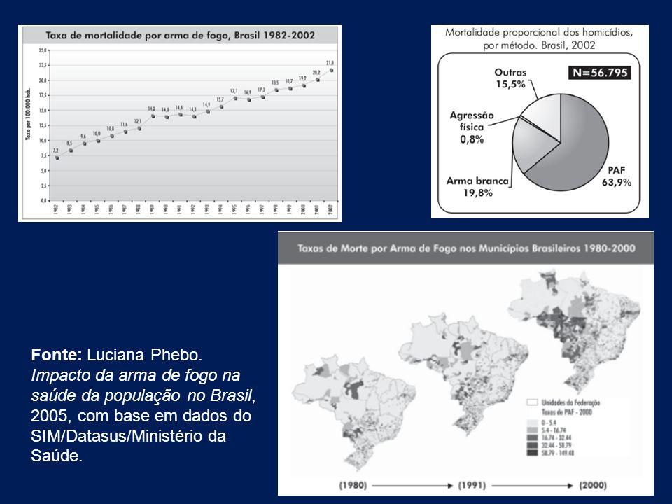 Fonte: Luciana Phebo. Impacto da arma de fogo na saúde da população no Brasil, 2005, com base em dados do SIM/Datasus/Ministério da Saúde.