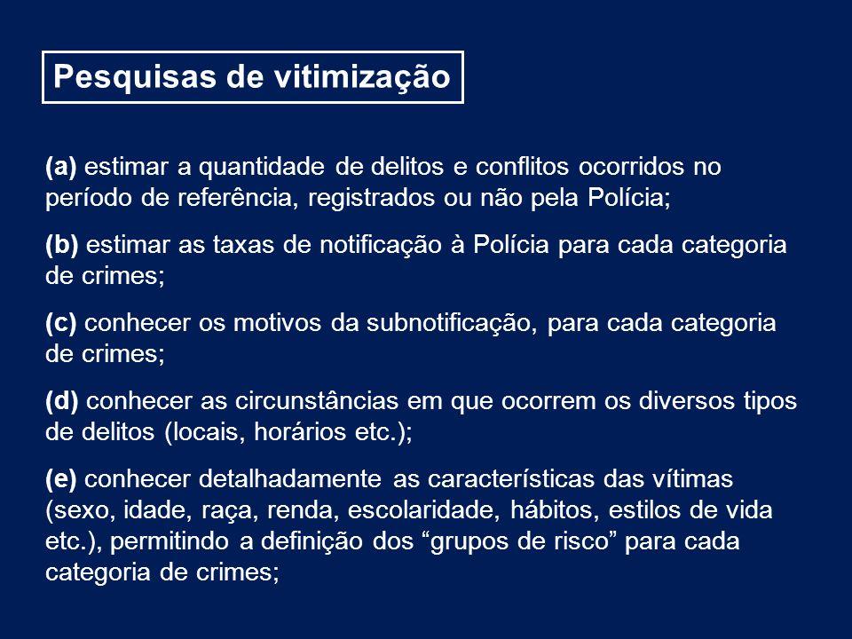 (a) estimar a quantidade de delitos e conflitos ocorridos no período de referência, registrados ou não pela Polícia; (b) estimar as taxas de notificaç