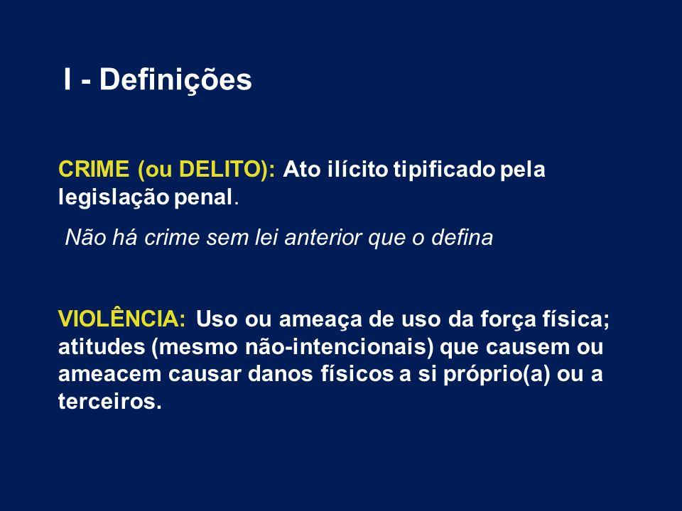 CRIME (ou DELITO): Ato ilícito tipificado pela legislação penal. Não há crime sem lei anterior que o defina VIOLÊNCIA: Uso ou ameaça de uso da força f