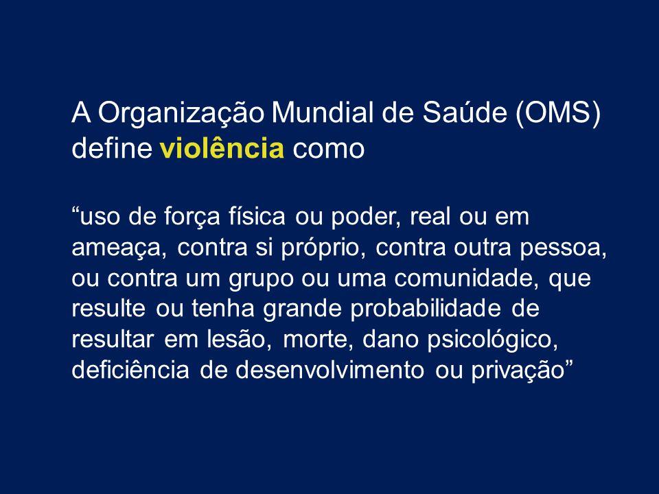 A Organização Mundial de Saúde (OMS) define violência como uso de força física ou poder, real ou em ameaça, contra si próprio, contra outra pessoa, ou