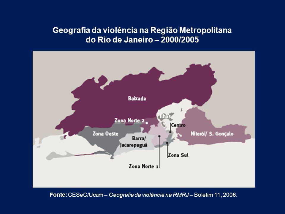Geografia da violência na Região Metropolitana do Rio de Janeiro – 2000/2005 Fonte: CESeC/Ucam – Geografia da violência na RMRJ – Boletim 11, 2006.