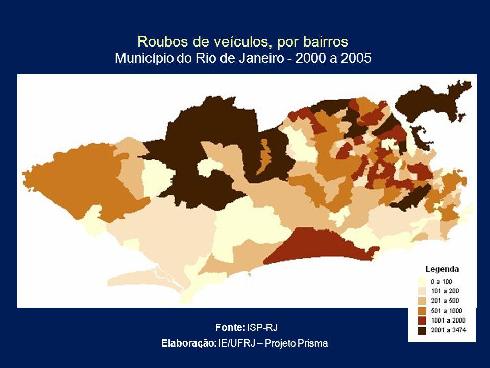 Elaboração: IE/UFRJ – Projeto Prisma Roubos de veículos, por bairros Município do Rio de Janeiro - 2000 a 2005