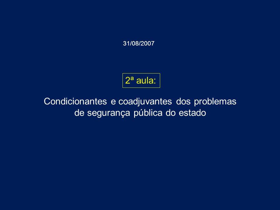 Condicionantes e coadjuvantes dos problemas de segurança pública do estado 2ª aula: 31/08/2007