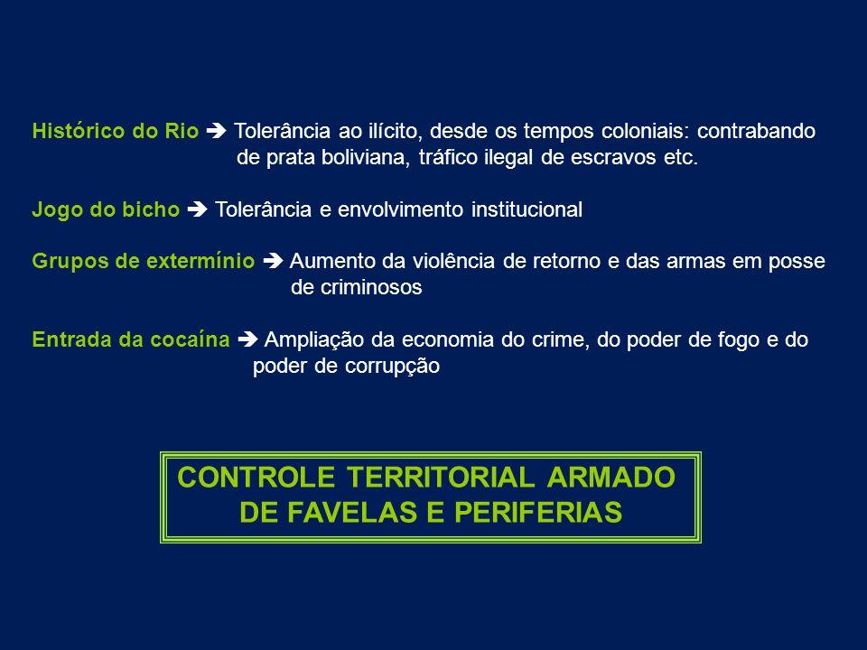 Histórico do Rio Tolerância ao ilícito, desde os tempos coloniais: contrabando de prata boliviana, tráfico ilegal de escravos etc. Jogo do bicho Toler