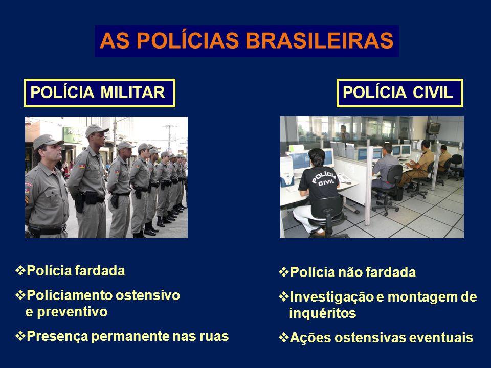 AS POLÍCIAS BRASILEIRAS POLÍCIA MILITARPOLÍCIA CIVIL Polícia fardada Policiamento ostensivo e preventivo Presença permanente nas ruas Polícia não fard