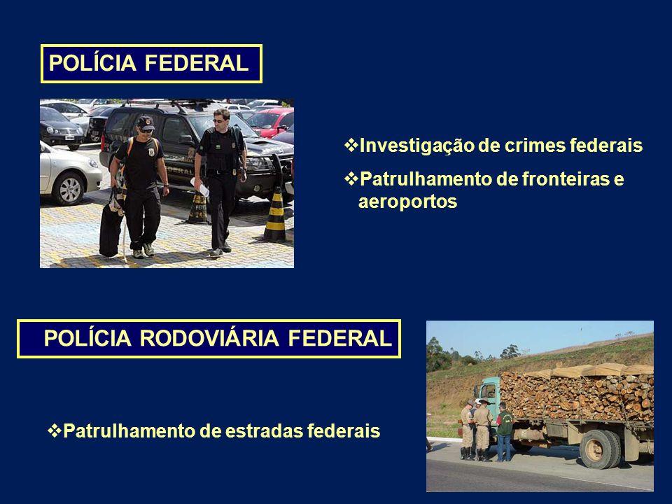 POLÍCIA FEDERAL POLÍCIA RODOVIÁRIA FEDERAL Investigação de crimes federais Patrulhamento de fronteiras e aeroportos Patrulhamento de estradas federais