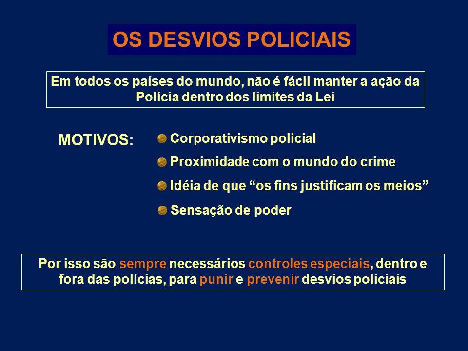 OS DESVIOS POLICIAIS Em todos os países do mundo, não é fácil manter a ação da Polícia dentro dos limites da Lei Por isso são sempre necessários contr