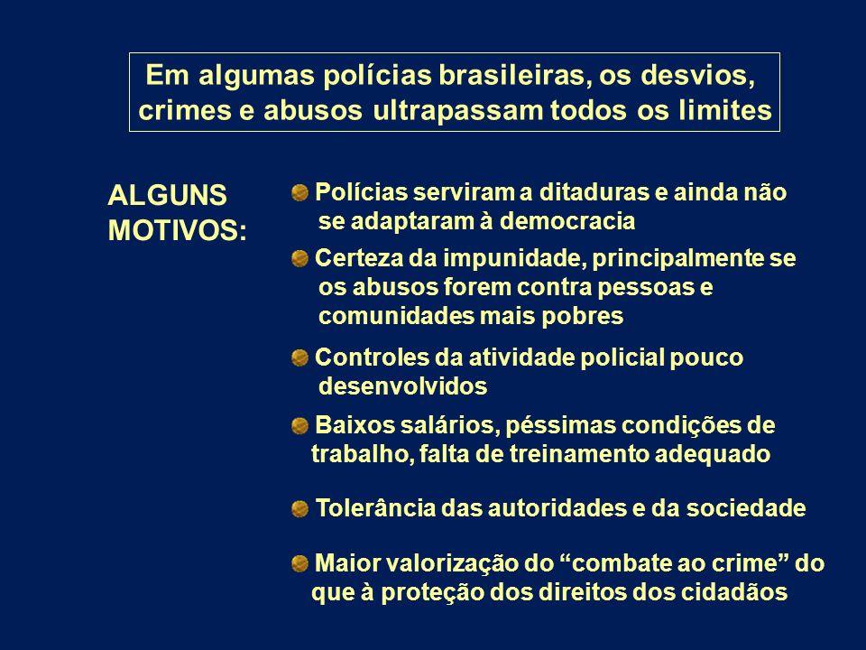 Em algumas polícias brasileiras, os desvios, crimes e abusos ultrapassam todos os limites ALGUNS MOTIVOS: Polícias serviram a ditaduras e ainda não se