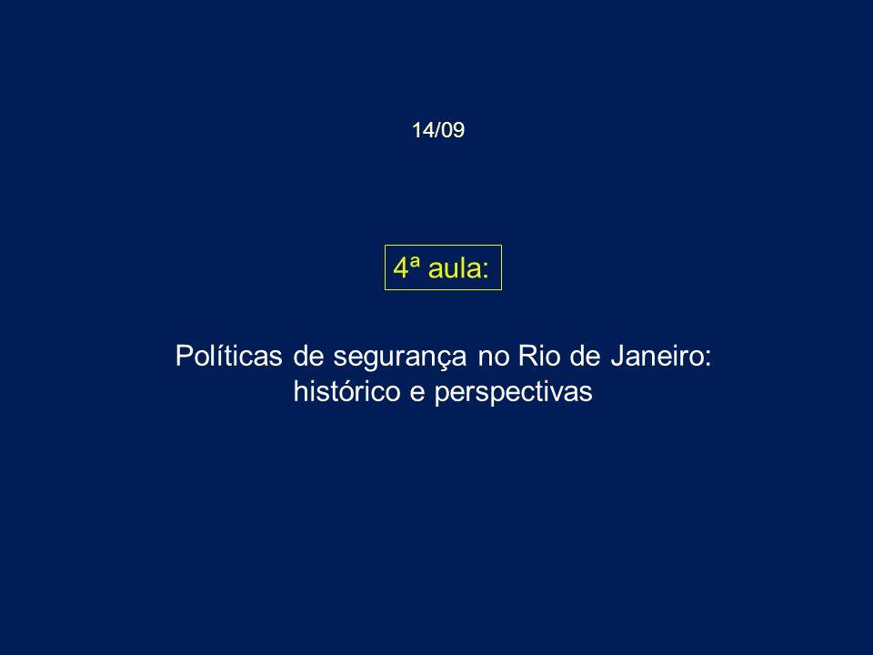 Políticas de segurança no Rio de Janeiro: histórico e perspectivas 4ª aula: 14/09