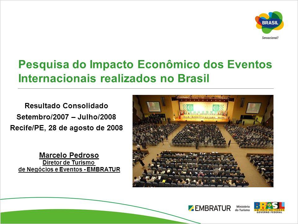 Pesquisa do Impacto Econômico dos Eventos Internacionais realizados no Brasil Resultado Consolidado Setembro/2007 – Julho/2008 Recife/PE, 28 de agosto
