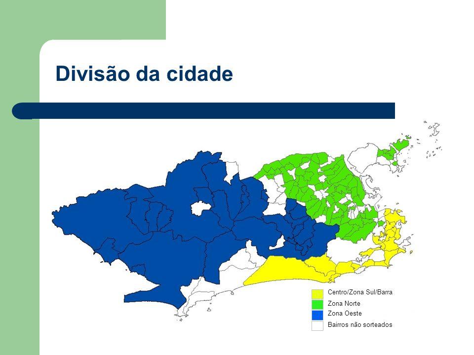 Zona Norte Zona Oeste Centro/Zona Sul/Barra Bairros não sorteados Divisão da cidade