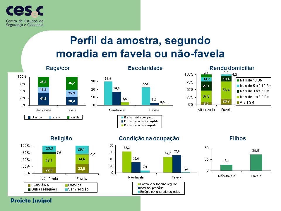 Projeto Juvipol Perfil da amostra, segundo moradia em favela ou não-favela Raça/corEscolaridadeRenda domiciliar ReligiãoCondição na ocupaçãoFilhos