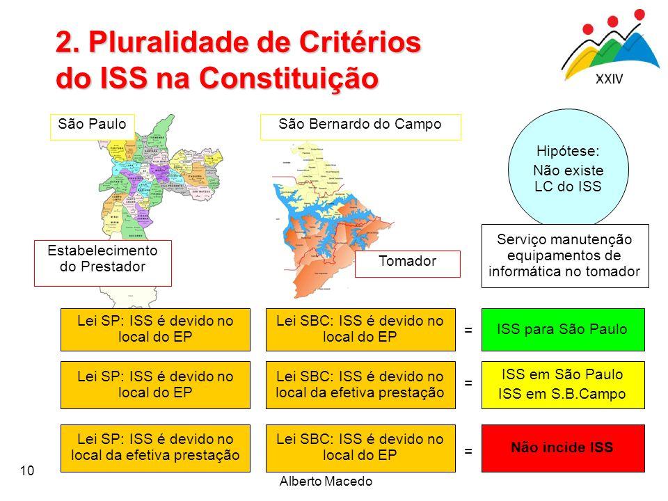 Alberto Macedo 10 Estabelecimento do Prestador Tomador São PauloSão Bernardo do Campo Lei SP: ISS é devido no local do EP Lei SBC: ISS é devido no loc