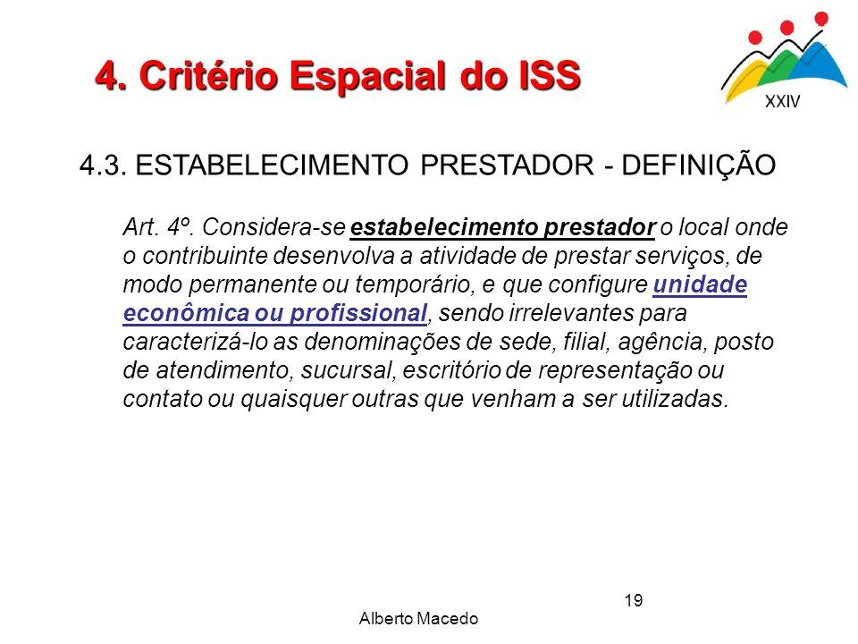 Alberto Macedo 19 4. Critério Espacial do ISS 4.3. ESTABELECIMENTO PRESTADOR - DEFINIÇÃO Art. 4º. Considera-se estabelecimento prestador o local onde