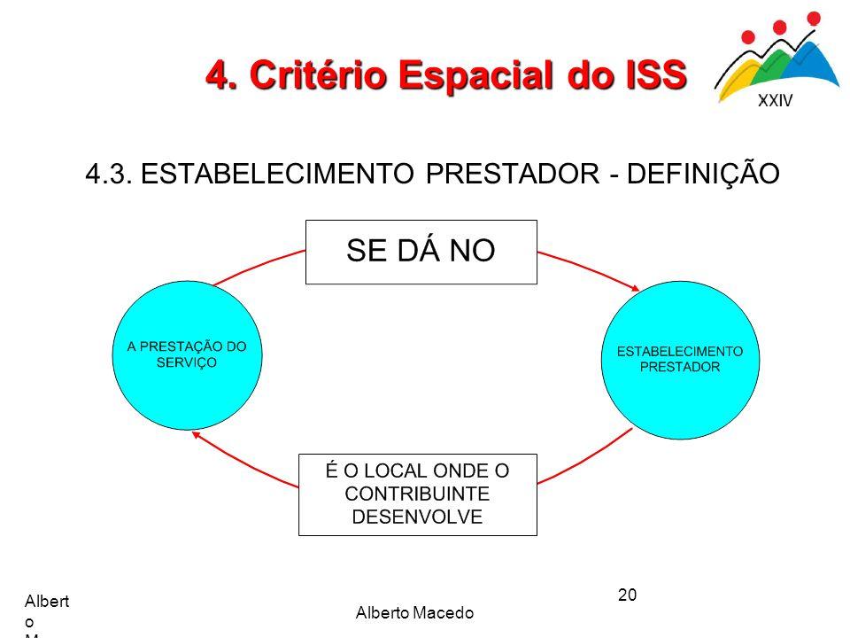 Alberto Macedo 20 4. Critério Espacial do ISS 4.3. ESTABELECIMENTO PRESTADOR - DEFINIÇÃO