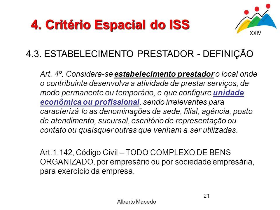 Alberto Macedo 21 4. Critério Espacial do ISS 4.3. ESTABELECIMENTO PRESTADOR - DEFINIÇÃO Art. 4º. Considera-se estabelecimento prestador o local onde