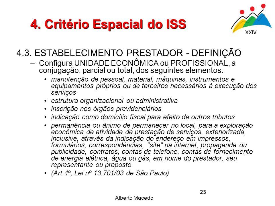 Alberto Macedo 23 4. Critério Espacial do ISS 4.3. ESTABELECIMENTO PRESTADOR - DEFINIÇÃO –Configura UNIDADE ECONÔMICA ou PROFISSIONAL, a conjugação, p