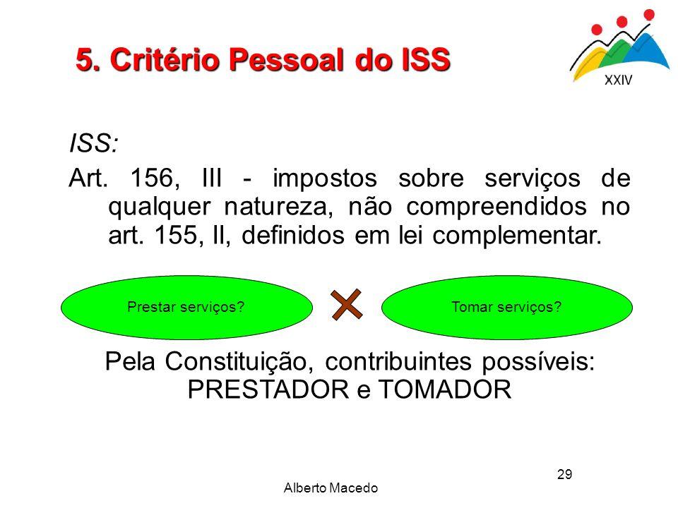 29 Prestar serviços?Tomar serviços? ISS: Art. 156, III - impostos sobre serviços de qualquer natureza, não compreendidos no art. 155, II, definidos em