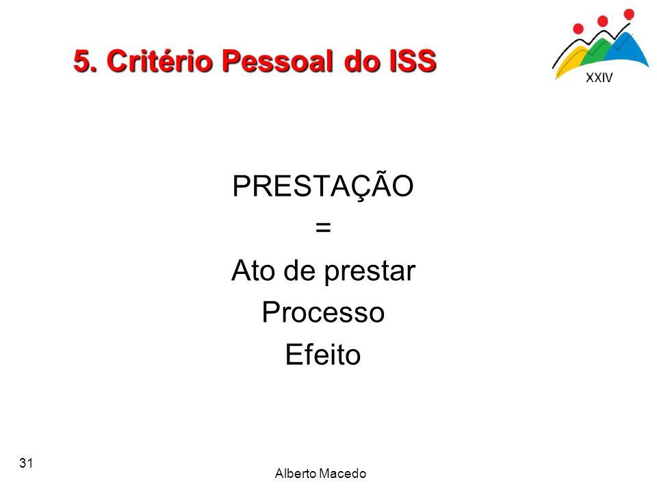 31 PRESTAÇÃO = Ato de prestar Processo Efeito 5. Critério Pessoal do ISS Alberto Macedo
