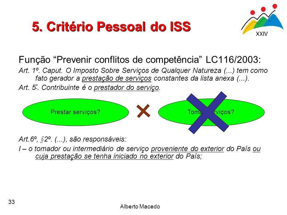 33 Função Prevenir conflitos de competência LC116/2003: Art. 1º. Caput. O Imposto Sobre Serviços de Qualquer Natureza (...) tem como fato gerador a pr