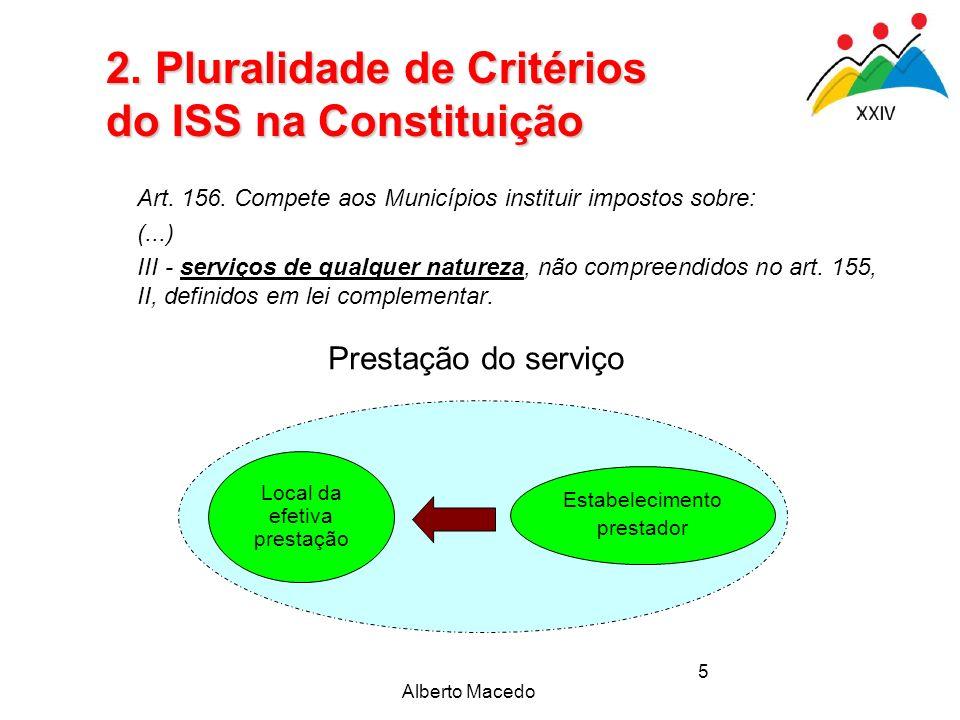 Alberto Macedo 5 Art. 156. Compete aos Municípios instituir impostos sobre: (...) III - serviços de qualquer natureza, não compreendidos no art. 155,