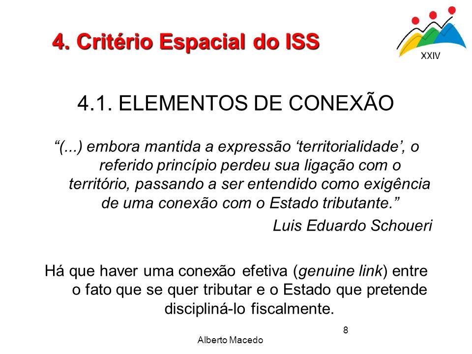 Alberto Macedo 8 4.1. ELEMENTOS DE CONEXÃO (...) embora mantida a expressão territorialidade, o referido princípio perdeu sua ligação com o território
