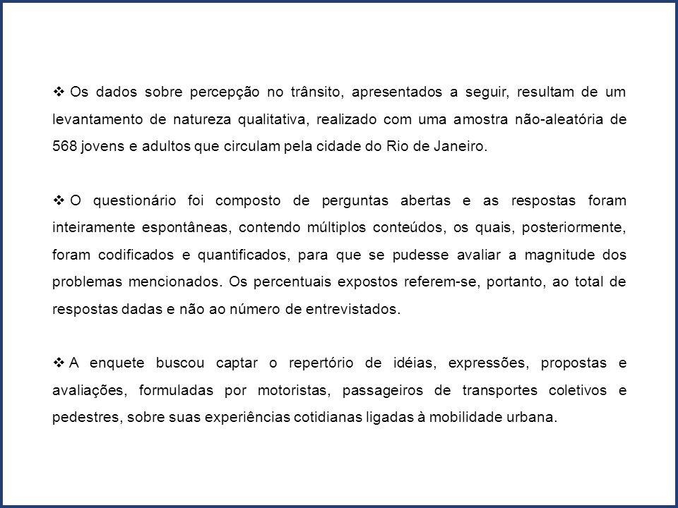 Os dados sobre percepção no trânsito, apresentados a seguir, resultam de um levantamento de natureza qualitativa, realizado com uma amostra não-aleatória de 568 jovens e adultos que circulam pela cidade do Rio de Janeiro.