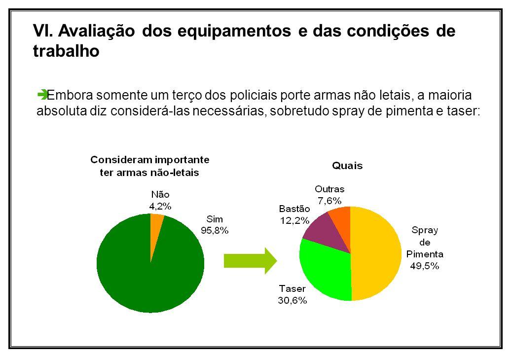 Embora somente um terço dos policiais porte armas não letais, a maioria absoluta diz considerá-las necessárias, sobretudo spray de pimenta e taser: VI