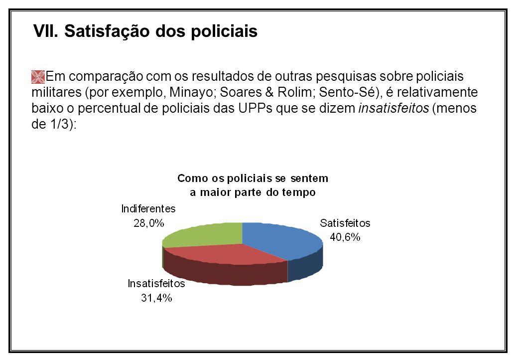 VII. Satisfação dos policiais Em comparação com os resultados de outras pesquisas sobre policiais militares (por exemplo, Minayo; Soares & Rolim; Sent