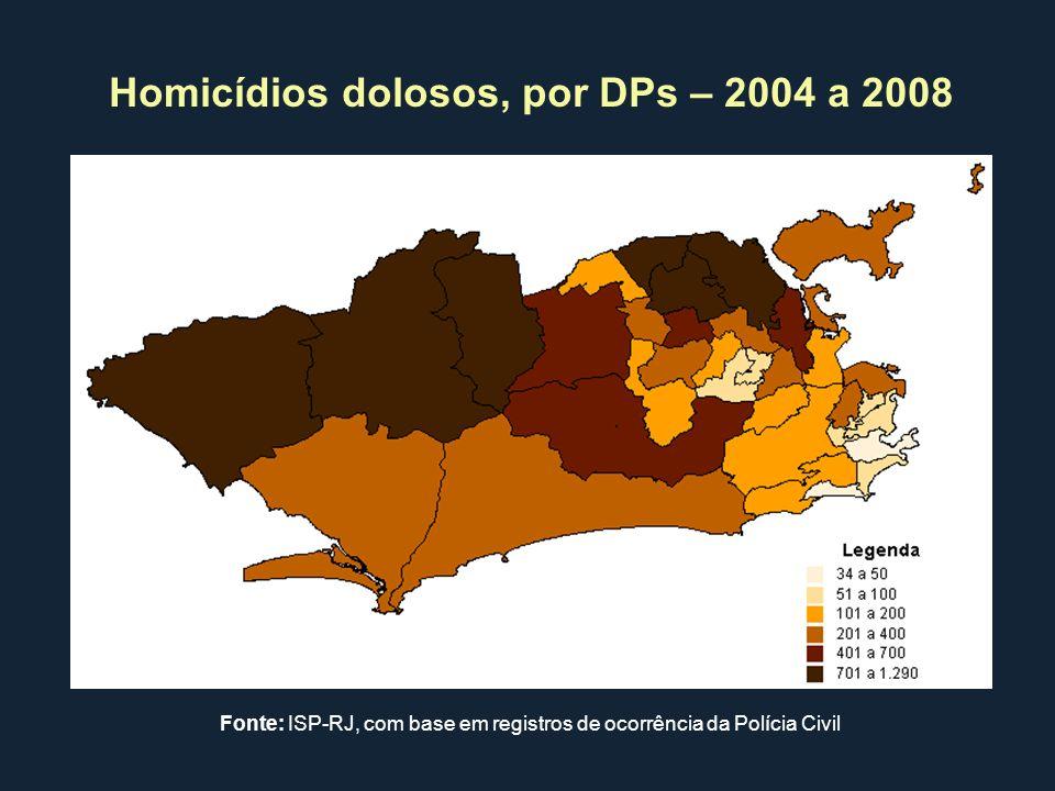 Homicídios dolosos, por DPs – 2004 a 2008 Fonte: ISP-RJ, com base em registros de ocorrência da Polícia Civil
