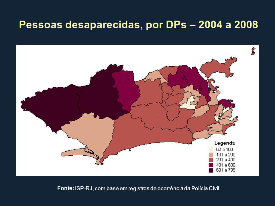 Pessoas desaparecidas, por DPs – 2004 a 2008 Fonte: ISP-RJ, com base em registros de ocorrência da Polícia Civil