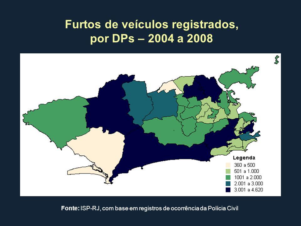 Furtos de veículos registrados, por DPs – 2004 a 2008 Fonte: ISP-RJ, com base em registros de ocorrência da Polícia Civil