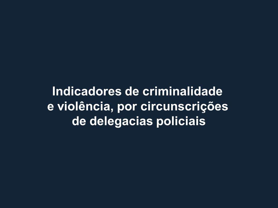 Indicadores de criminalidade e violência, por circunscrições de delegacias policiais