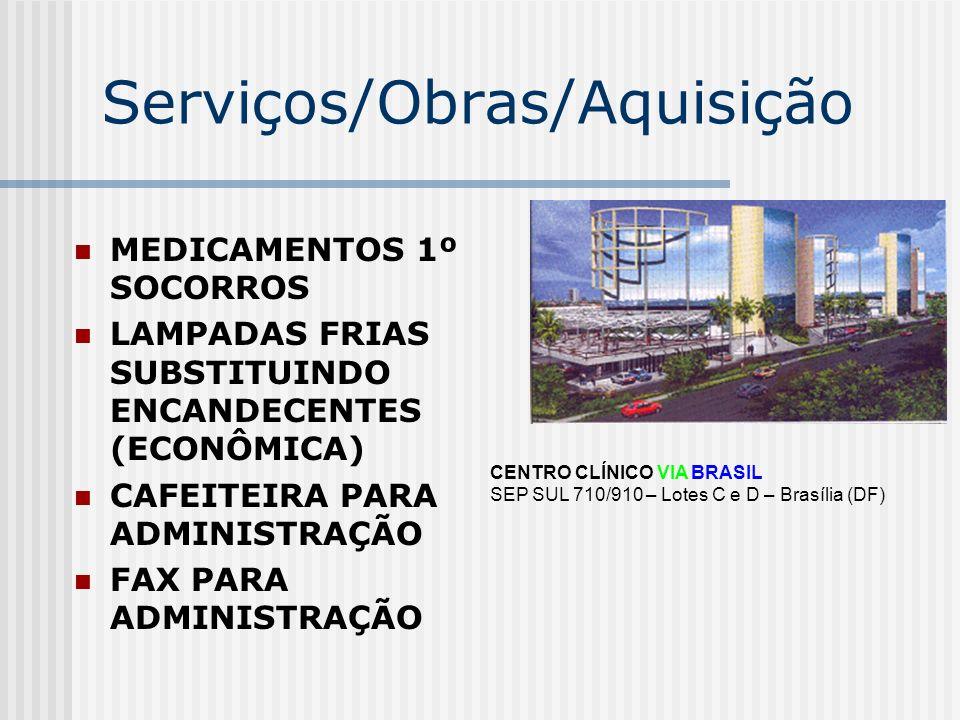 Serviços/Obras/Aquisição MEDICAMENTOS 1º SOCORROS LAMPADAS FRIAS SUBSTITUINDO ENCANDECENTES (ECONÔMICA) CAFEITEIRA PARA ADMINISTRAÇÃO FAX PARA ADMINIS