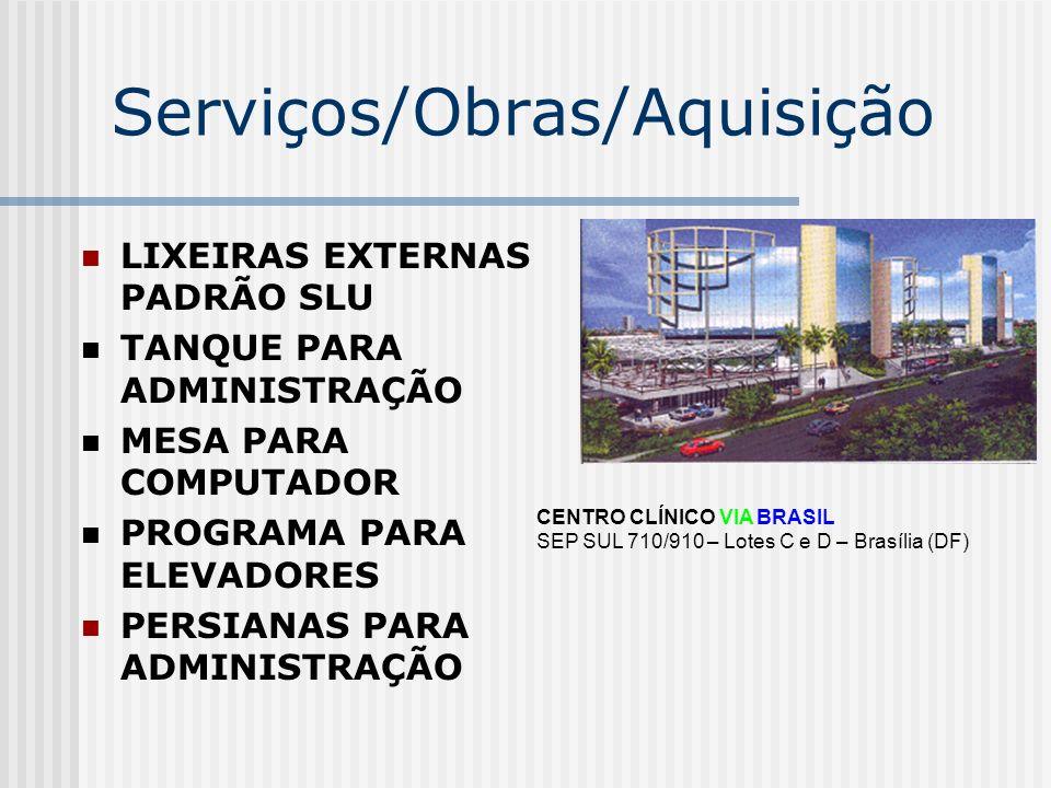 Serviços/Obras/Aquisição LIXEIRAS EXTERNAS PADRÃO SLU TANQUE PARA ADMINISTRAÇÃO MESA PARA COMPUTADOR PROGRAMA PARA ELEVADORES PERSIANAS PARA ADMINISTR