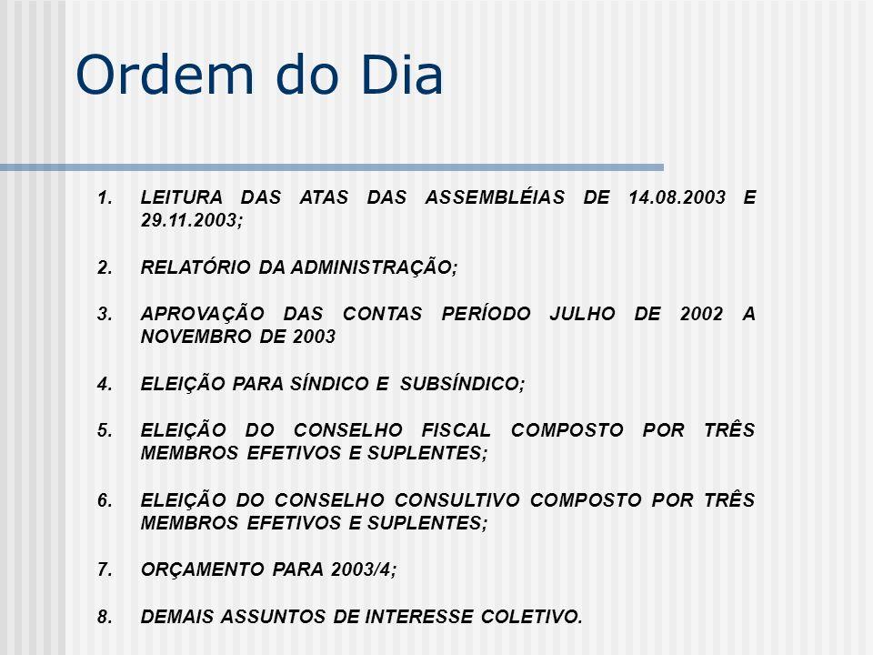 Ordem do Dia 1.LEITURA DAS ATAS DAS ASSEMBLÉIAS DE 14.08.2003 E 29.11.2003; 2.RELATÓRIO DA ADMINISTRAÇÃO; 3.APROVAÇÃO DAS CONTAS PERÍODO JULHO DE 2002