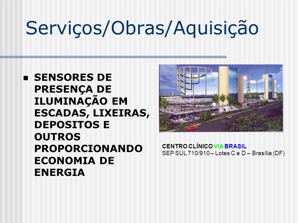 Serviços/Obras/Aquisição SENSORES DE PRESENÇA DE ILUMINAÇÃO EM ESCADAS, LIXEIRAS, DEPOSITOS E OUTROS PROPORCIONANDO ECONOMIA DE ENERGIA CENTRO CLÍNICO
